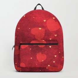 Valentine Red and Gold Heart Pattern Backpack