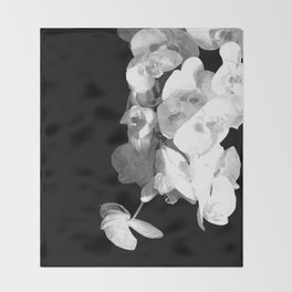 White Orchids Black Background Throw Blanket