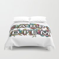 carpe diem Duvet Covers featuring Carpe Diem by Digi Treats 2