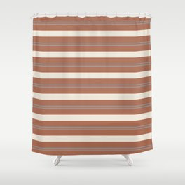 Slate Violet Gray and Creamy Off White Stripes Thick and Thin Horizontal Lines on Cavern Clay Shower Curtain