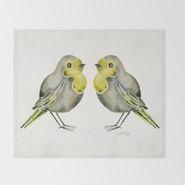 Little Yellow Birds Throw Blanket