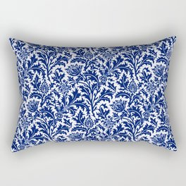 William Morris Thistle Damask, Cobalt Blue & White Rectangular Pillow