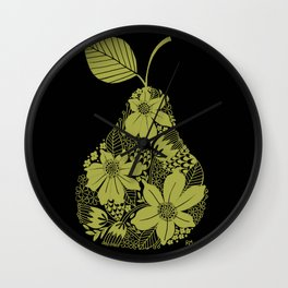 Flower Pear Silhouette Wall Clock
