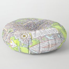 OXFORD university map ENGLAND dorm decor Floor Pillow