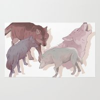 wolves Area & Throw Rugs featuring wolves by Devon Busby Busbyart