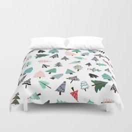 Cute whimsical Christmas trees pattern illustration Duvet Cover