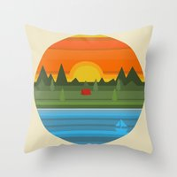 camping Throw Pillows featuring Camping by Becky Gibson