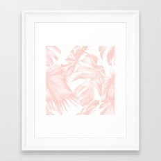 Tropical Leaves Pink and White Framed Art Print