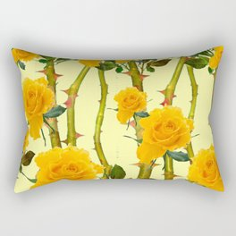 GOLDEN ROSES & THORNY CANES ON  YELLOW Rectangular Pillow