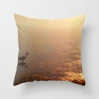crane Throw Pillows featuring Crane by Jennifer L. Craft