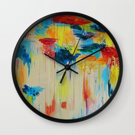 VANCOUVER RAIN - Stunning Rainbow Colorful Bold bright Rain Clouds Stormy Day Wow Abstract Painting Wall Clock