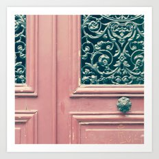 Paris, pink door Art Print
