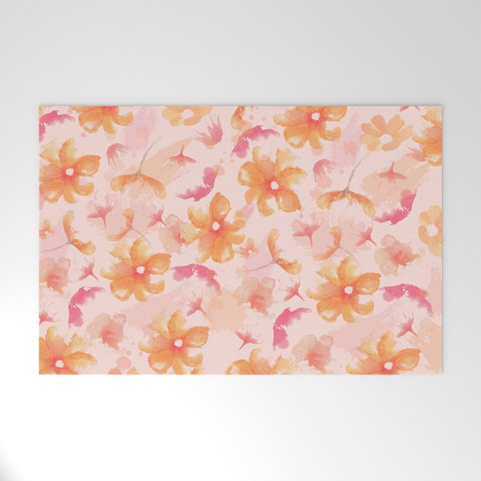 Pink Coral Floral Welcome Mat