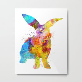 Watercolor Bunny Rabbit Metal Print