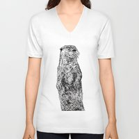 otter V-neck T-shirts featuring Otter by Meredith Mackworth-Praed