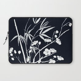 bamboo and plum flower white on black Laptop Sleeve