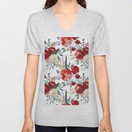 Botanical red ivory teal watercolor roses floral Unisex V-Neck
