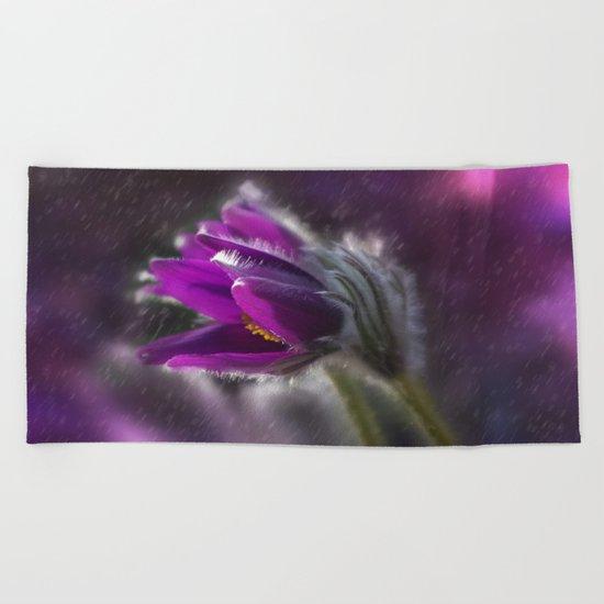 Purple rain Beach Towel