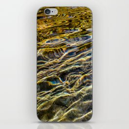 Prismatic Waves in Blue Gold and Green iPhone Skin
