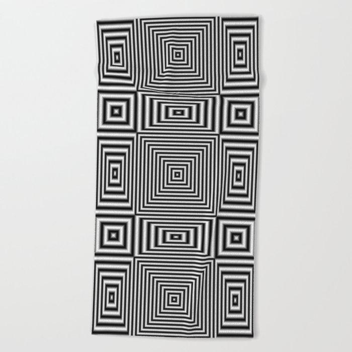 Flickering geometric optical illusion Beach Towel