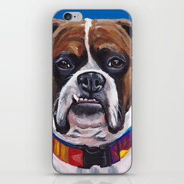 Cute Boxer Painting, Blue Dog Painting iPhone Skin