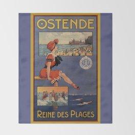 1900 Ostend beach bathing beauty Throw Blanket