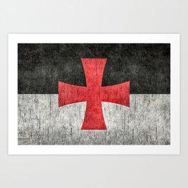 Knights Templar Flag in Super Grunge Art Print