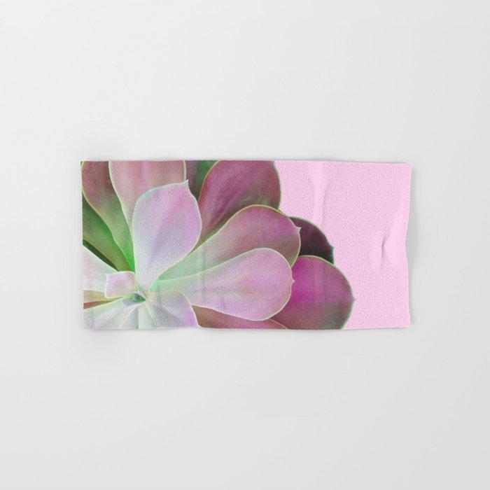 Acid Green and Pink Echeveria Hand & Bath Towel