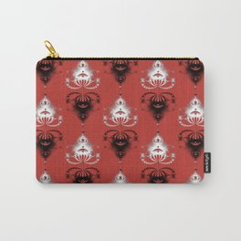 Ornament medallions - Black and white fractals on valiant poppy color Carry-All Pouch