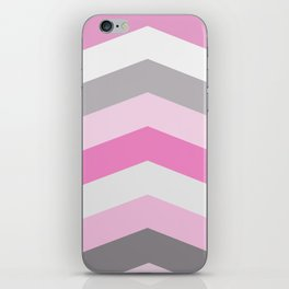 Pink and gray chevron iPhone Skin