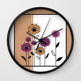Floral applique , retro Wall Clock