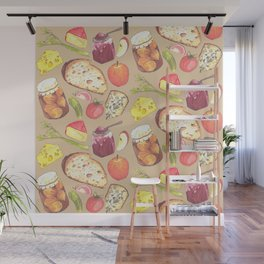 Ploughmans Lunch, Retro Food Illustration: half drop pattern repeat creamy beige Wall Mural