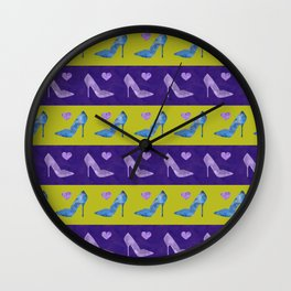High Heels Patterns watercolor blue, purple and green Wall Clock