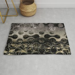 Distressed Silver Gold Multi Pattern Abstract Rug