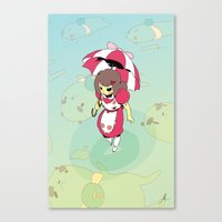 bee and puppycat Canvas Prints featuring Bee n' PuppyCat by jacksonnnnnnn