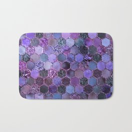 Purple geometric hexagonal elegant & luxury pattern Bath Mat
