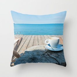 Wooden floor with chaise-longues and cup of coffee, Istria, Croatian coast Throw Pillow