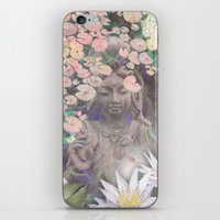 budi satria kwan iPhone & iPod Skins featuring Reflections - Zen Garden Kwan Yin Goddess Art by Fusion Idol