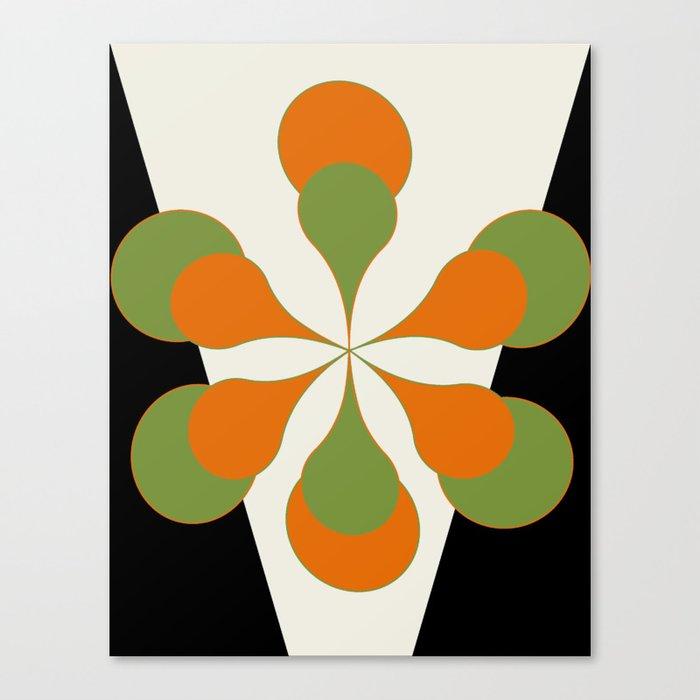 Mid-Century Modern Art 1.4 - Green & Orange Flower Leinwanddruck
