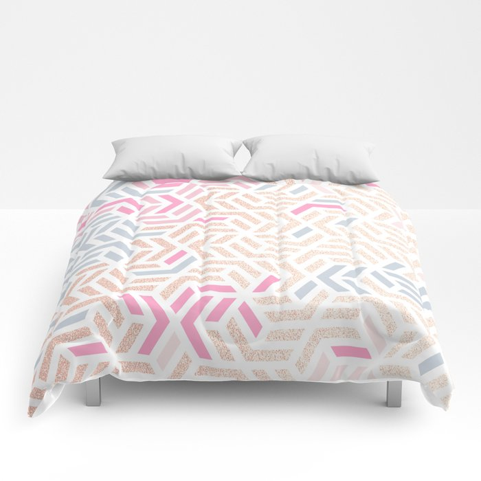 Pastel Deco Hexagon Pattern - Gold, pink & grey #pastelvibes #pattern #deco Comforters