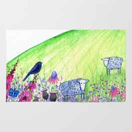 Summer Meadow, landscape painting Rug
