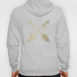 Tribal Arrows Gold on White Hoody