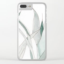 Watercolor greenery Clear iPhone Case