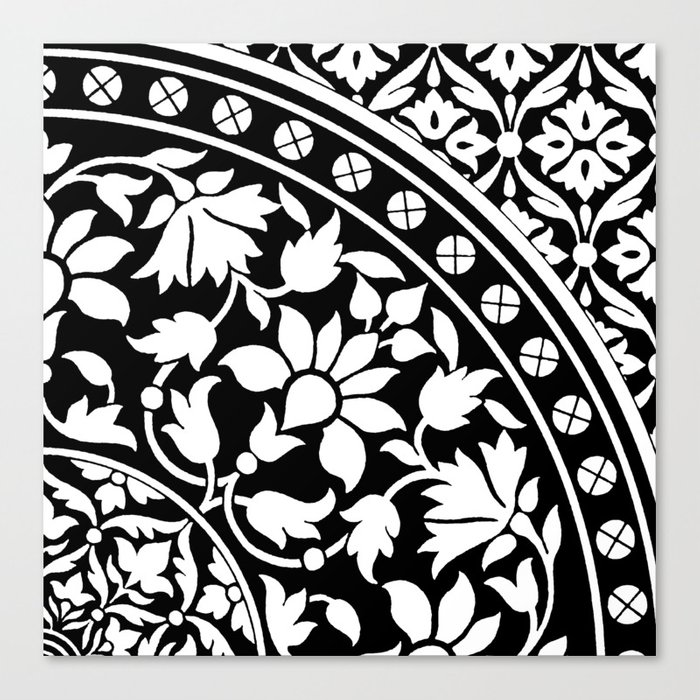 Indian black and white floral geometric pattern canvas print by periodpaper indian black and white floral geometric pattern canvas print mightylinksfo
