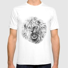 Lion roar G141 Mens Fitted Tee MEDIUM White