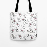 puerto rico Tote Bags featuring Dominos de Puerto Rico by A Different Place and Time