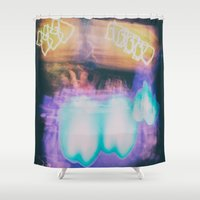 bar Shower Curtains featuring Colored bar by Marie Deschene