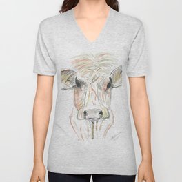 Hello Brown Cow.. Unisex V-Neck