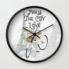Vintage Paris Bicycle with Flowers Wall Clock
