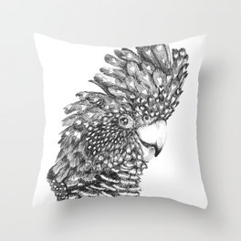 Black Cockatoo Portrait pen and ink Throw Pillow